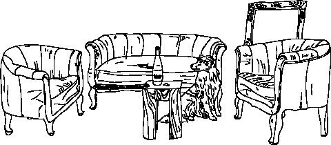 Weinwerkstatt Couch und Hund illustriert